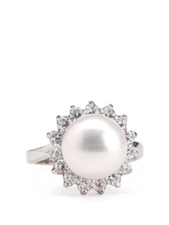 Sterling Silver Pearl Ring - Tanya Rossi, Italy 9060