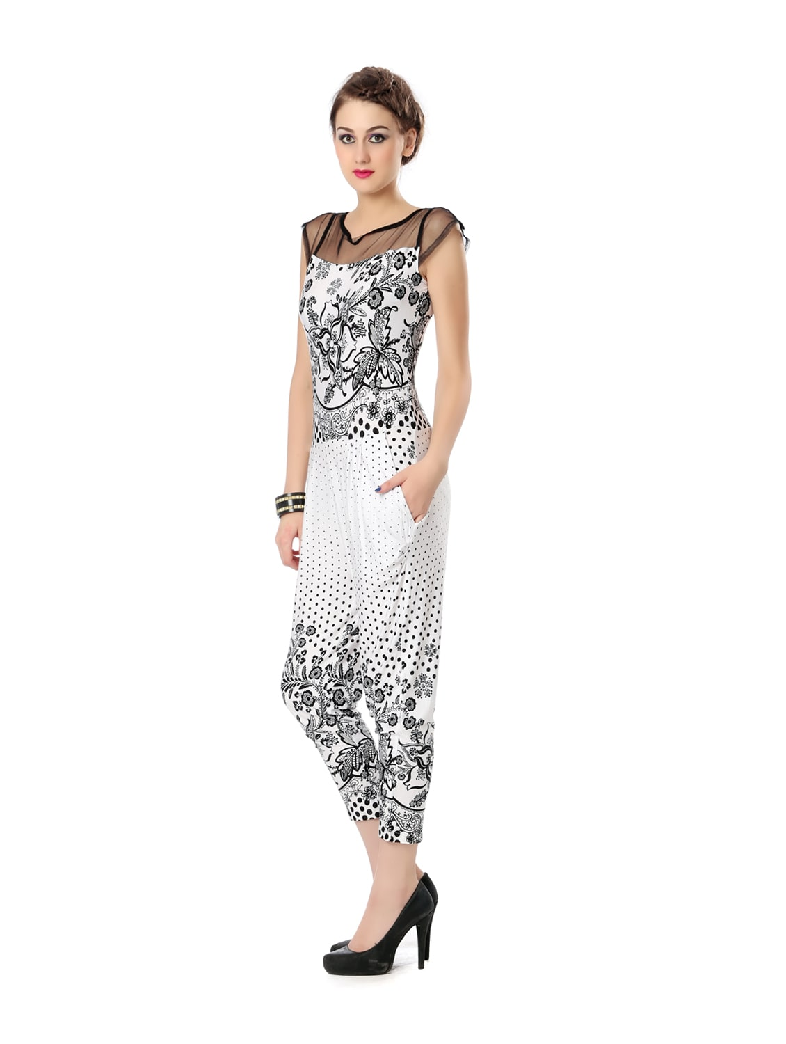 88595cc1747 Buy White And Black Printed Jumpsuit by Glam And Luxe - Online shopping for  Jumpsuits in India