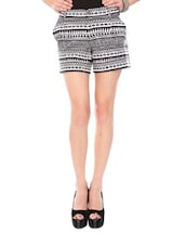 Black And White Aztec Print Shorts - Glam And Luxe