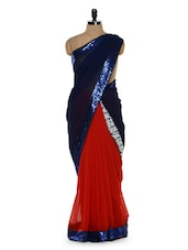 Sultry Royal Blue And Red Saree With Sequined Border - Sascreations