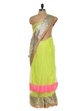 Vibrant Lime Green Saree With Sequined Border - Sascreations