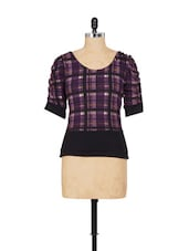 Purple And Black Check Patterned Top - SPECIES