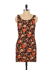 Brown And Orange Floral Cut-sleeved Dress - SPECIES