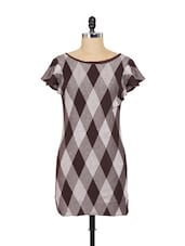 Brown And Grey Diamond Patterned Dress - SPECIES
