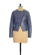 Blue Metal Studded Leather Jacket - THEO&ASH