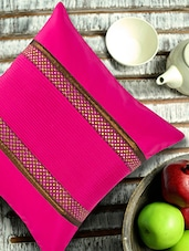 Fuchsia Pleated Cushion Cover With Purple Dots Brocade - ANS