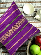 Violet Polysilk Cushion Cover With Matching Brocade And Contrast Piping - ANS