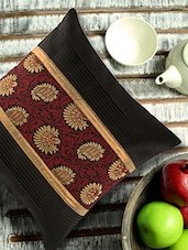 Black Pleated Cushion Cover With Maroon And Gold Brocade - ANS