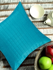 Turquoise Blue Cushion Cover With Checkered Cubes In The Centre - ANS