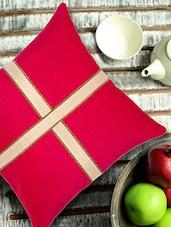 Fuschia Cushion Cover With Criss Cross Brocade Patti - ANS