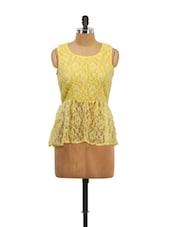Yellow Lace Peplum Top - Schwof