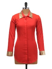 Red Shirt Dress With Gold Cuffs - Schwof