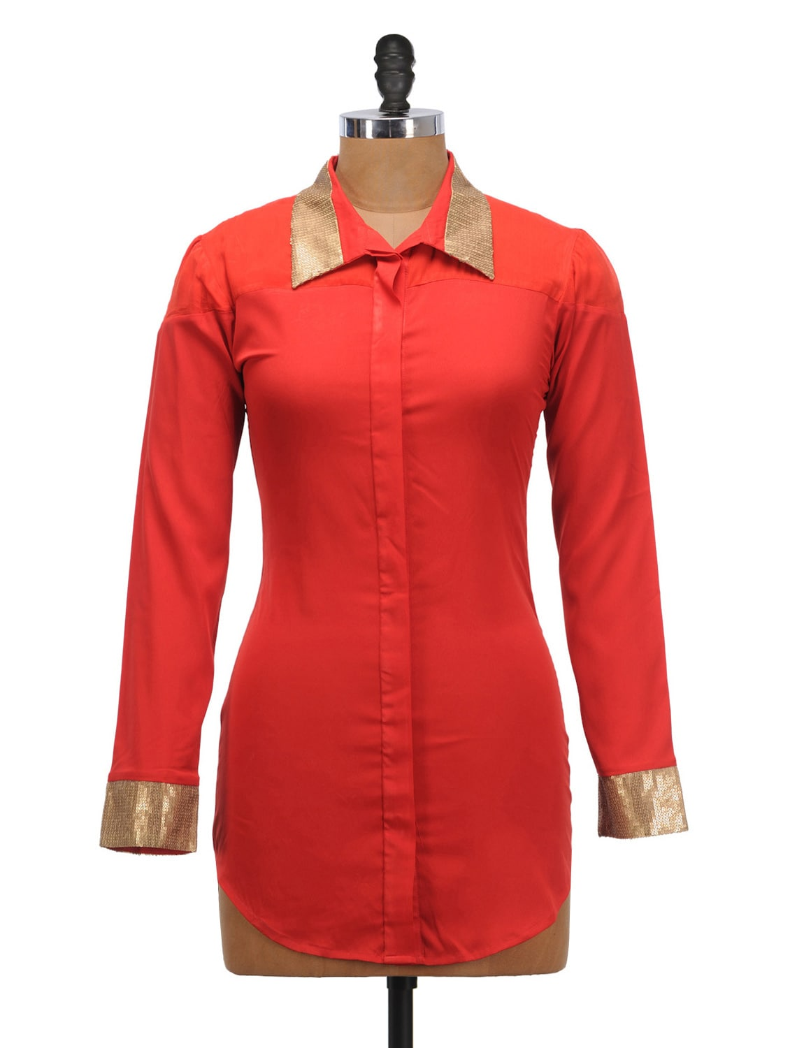 9a26fe588722c7 Buy Red Dressy Shirt With Gold Cuffs for Women from Schwof for ₹623 ...