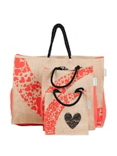 Heart Print Jute Gift Bag Set (set Of 3) - Greenobag