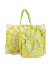 Green Hearts Jute Gift Bag Set (Set Of 3) - Greenobag