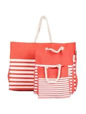 Striped Jute Gift Bag Set (Set Of 3) - Greenobag