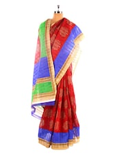 Tree Printed Red Bhagalpuri Silk Saree With Blouse Piece - Riti Riwaz