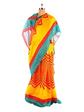 Amazing Yellow And Red Bhagalpuri Silk Saree With Blouse Piece - Riti Riwaz