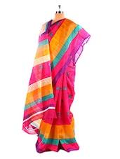 Elegant Pink Floral Printed Bhagalpuri Silk Saree With Blouse Piece - Riti Riwaz