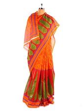 Amazing Orange Printed Bhagalpuri Silk Saree With Blouse Piece - Riti Riwaz