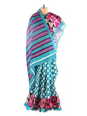 Fantastic Blue Printed Bhagalpuri Silk Saree With Blouse Piece - Riti Riwaz