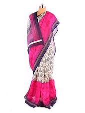 Amazing Pink And White Printed Bhagalpuri Silk Saree With Blouse Piece - Riti Riwaz