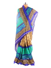 Fabulous Blue Printed Bhagalpuri Silk Saree With Blouse Piece - Riti Riwaz