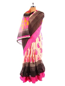 Paisley Printed Pink And Black Bhagalpuri Silk Saree With Blouse Piece - Riti Riwaz