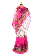Stylish Floral Printed Pink And White  Bhagalpuri Silk Saree With Blouse Piece - Riti Riwaz