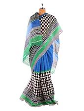 Graceful Blue And Green Printed Bhagalpuri Silk Saree With Blouse Piece - Riti Riwaz