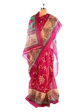 Bright Pink Bhagalpuri Silk Saree - Riti Riwaz