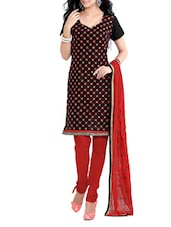 Black And Red Semi-Stitched Dress Material - Riti Riwaz