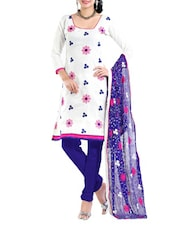 White And Blue Semi-Stitched Dress Material - Riti Riwaz