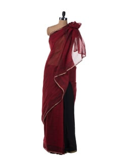 Printed Red And Black Structured Saree In Chanderi Cotton - URBAN PARI
