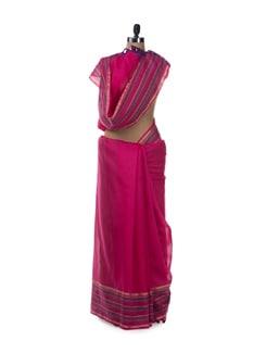 Pink Striped Border Chanderi Cotton Saree - URBAN PARI