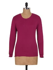 Gorgeous Bright Pink Knitted Winter Top - Renka