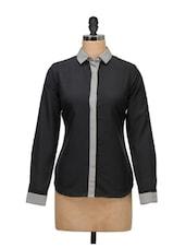 Black And Grey Formal Shirt - Meira