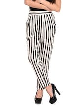 White And Black Striped Trousers - Meira