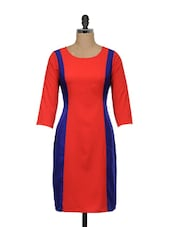 Red And Blue Full-sleeved Dress - Meira