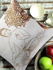 Buddha Under Bodhi Tree Embroidered White And Gold Cushion Cover - 13 Odds