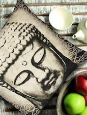 Classic Buddha Face Print Monochrome Cushion Cover - 13 Odds