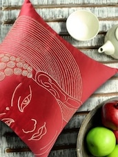 Buddha Face Embroidered, Red And Gold Cushion Cover - 13 Odds