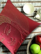 Buddha Face Quilted And Embroidered, Maroon And Antique Gold Cushion Cover - 13 Odds