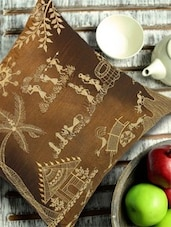 Warli Art Embroidered Brown And Gold Cushion Cover - 13 Odds