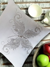 Stylized Butterfly Embroidered White & Silver Cushion Cover - 13 Odds