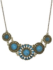 Blue Vintage Flower Drop Choker Necklace - Femnmas