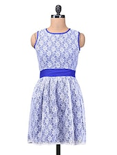 Blue And White Polyester Net Dress - By