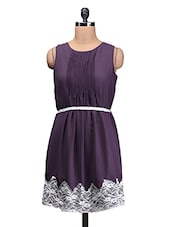 Purple Polygeorgette Printed Dress With Fabric Belt - By