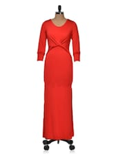 Red Maxi Dress With Twist Detail - Dress Kart