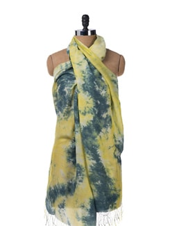 Tie & Dye Pashmina Stole In Grey Yellow - URBAN PARI